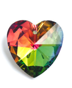 crystal rainbow heart pendant